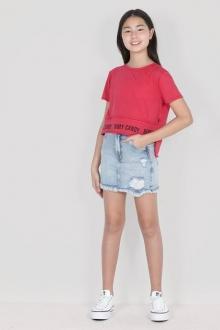 Saia Cintura Alta Jeans - Dimy