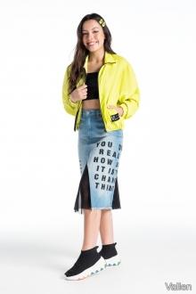 Saia Longa Jeans com Tulê - Vallen