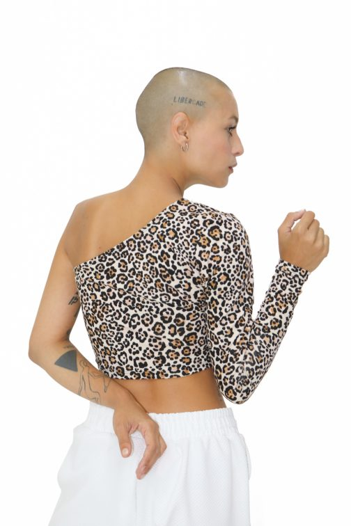 Blusa Cropped Ombro Só Animal Print
