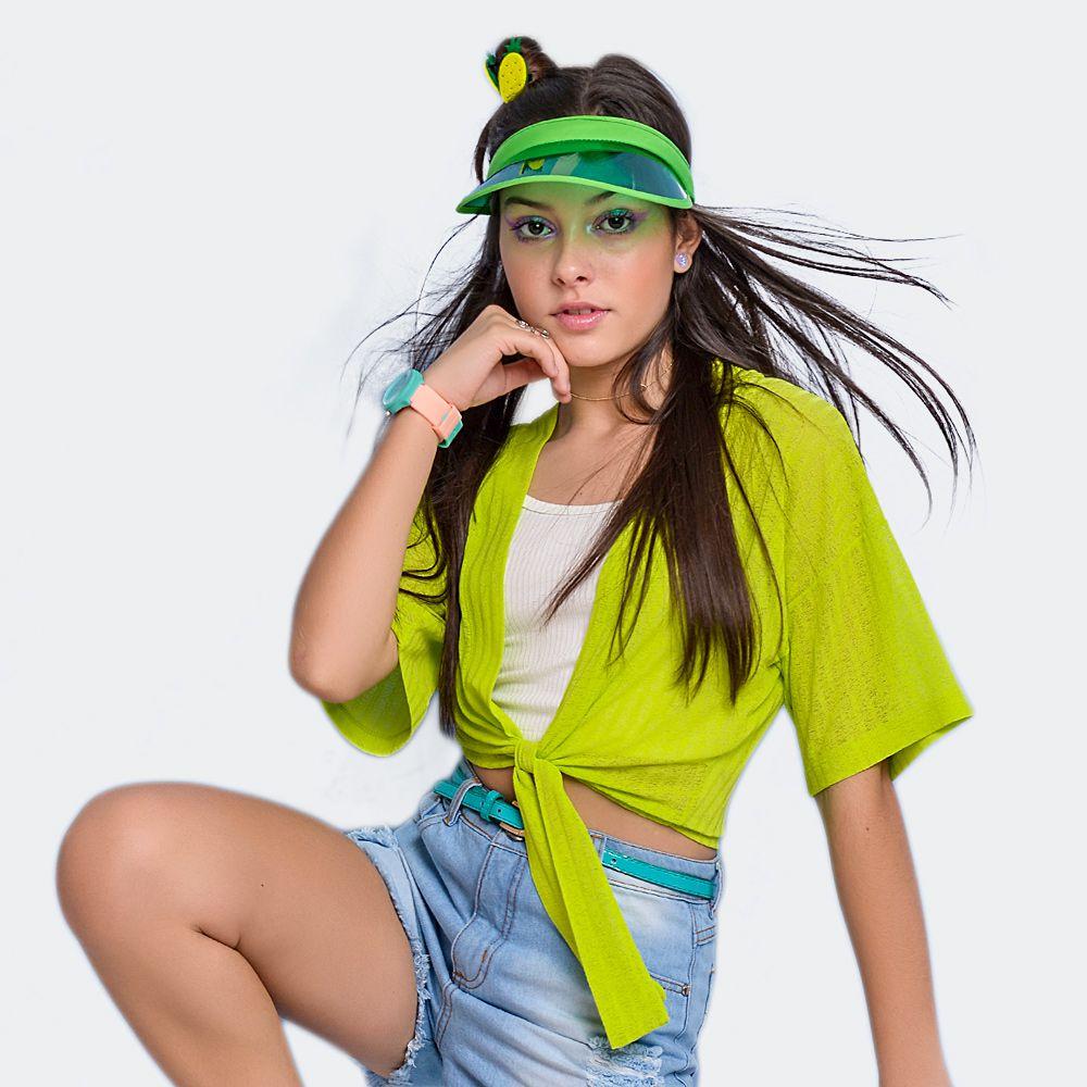 Blusa Sobreposição Verde Neon