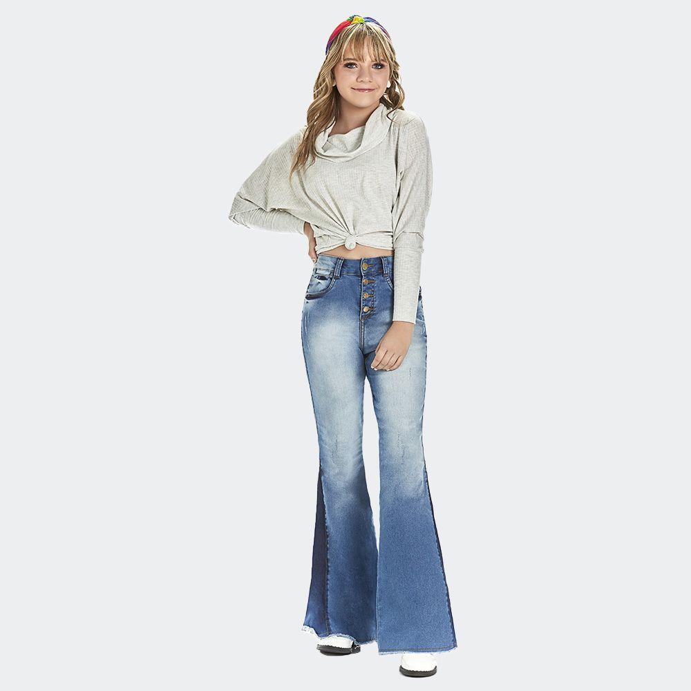 Calça jeans cintura alta boca de sino