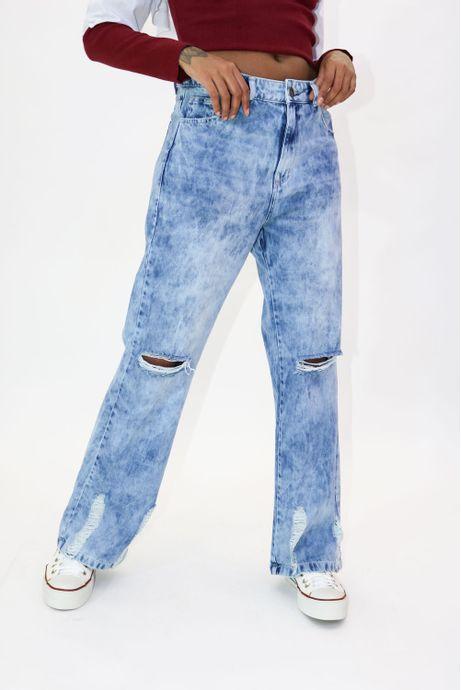 Calça Jeans Pantalona Destroyed - Grin