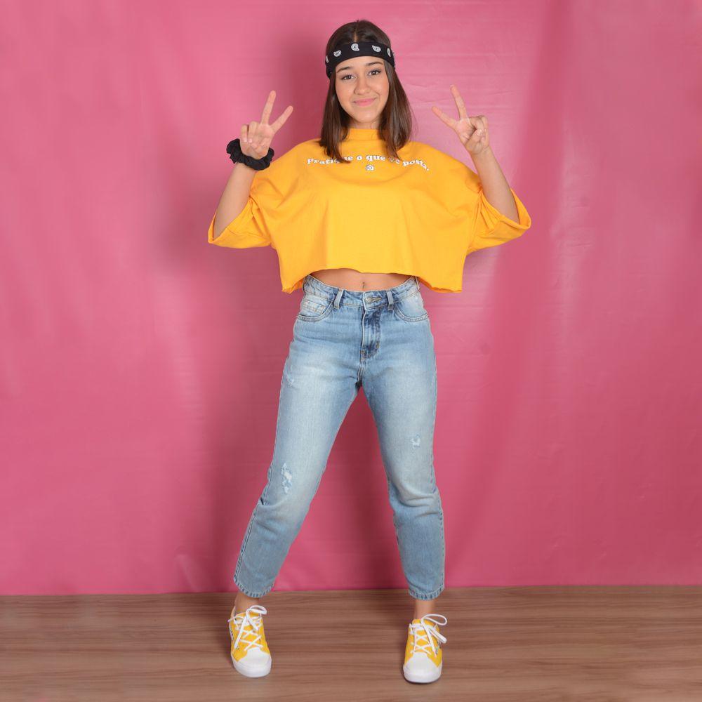 Calça Jeans Teen Com Elastano Rasgada  - Nuv.On