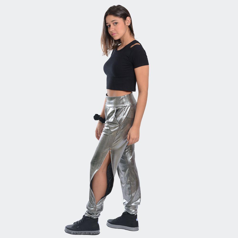Calça Metalizada Com Zíper Lateral - Mad By