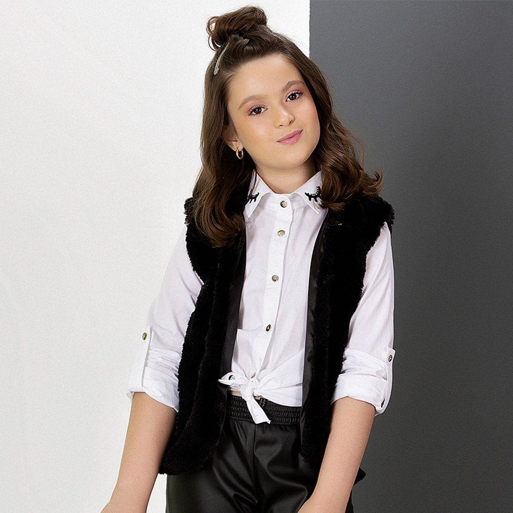 Camisa bordada cílios - Pkt