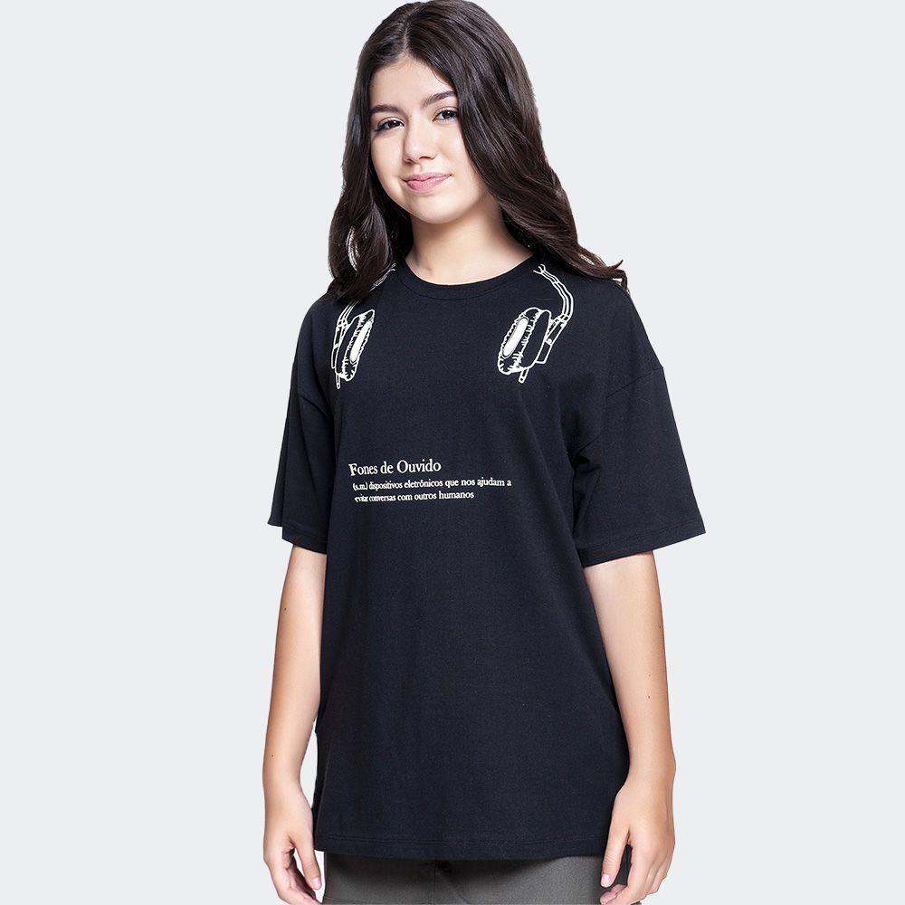Camiseta longa com estampa - AmoFany