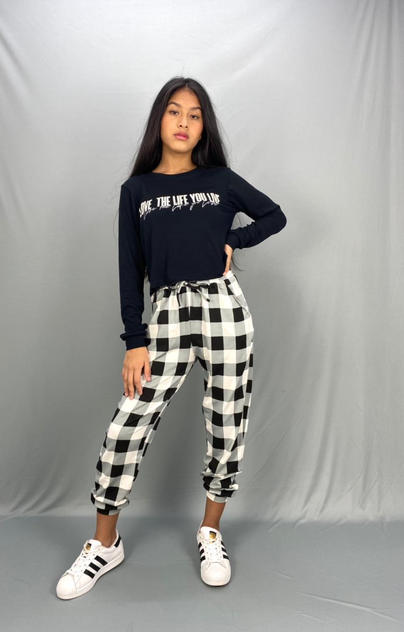 Conjunto blusa e calça xadrez malha - Sps