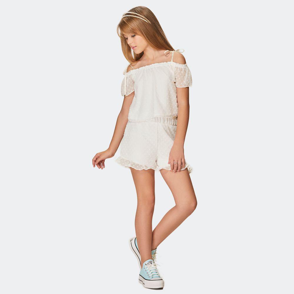Conjunto blusa e shorts  malha poá -  kpd