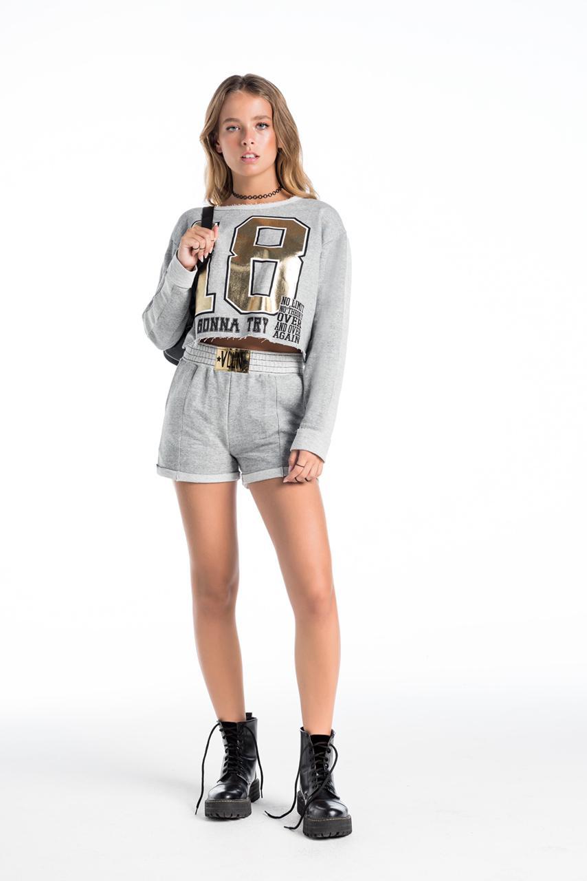 Conjunto cropped e shorts moleton  - Oi M