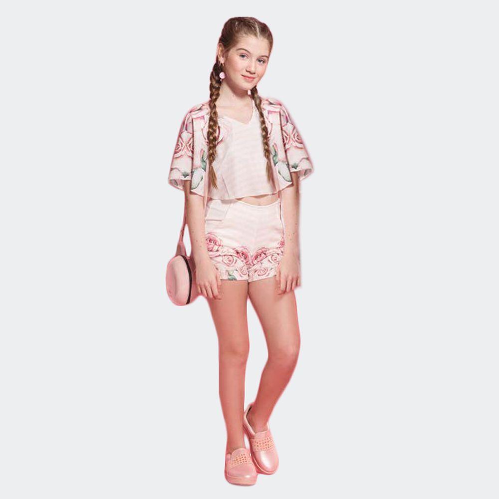 Conjunto Flores Blusa e Shorts