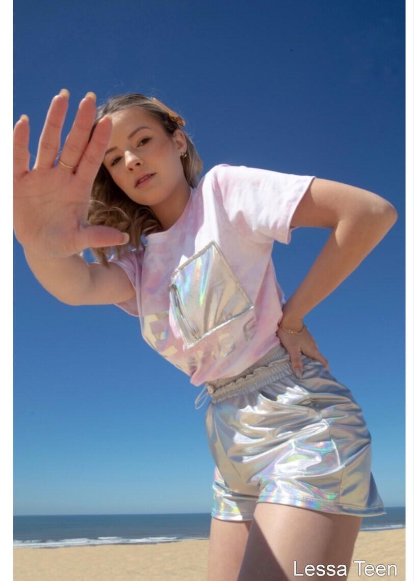 Cropped Tie Dye bolso holográfico - Less