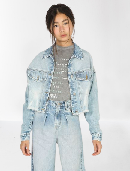 Jaqueta Jeans Trucker Cropped - Dimy Candy
