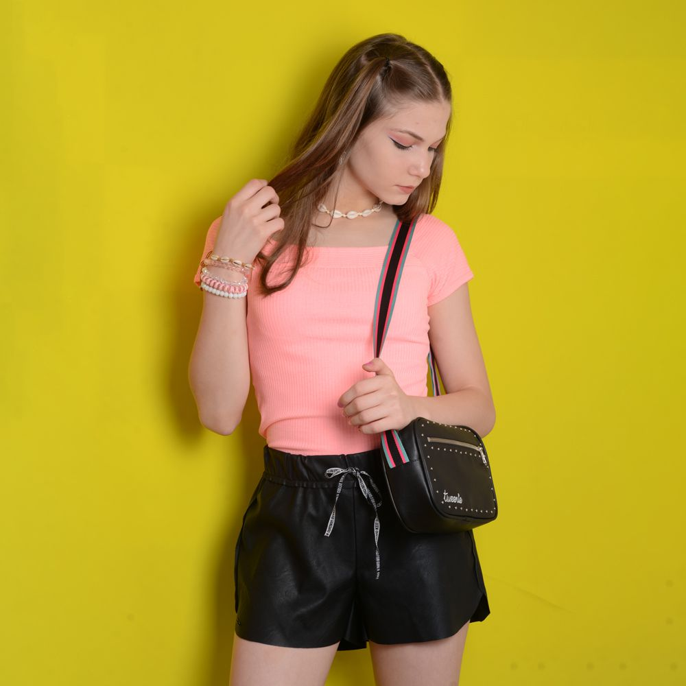 Shorts Bomber Couro Fake Collie Teen