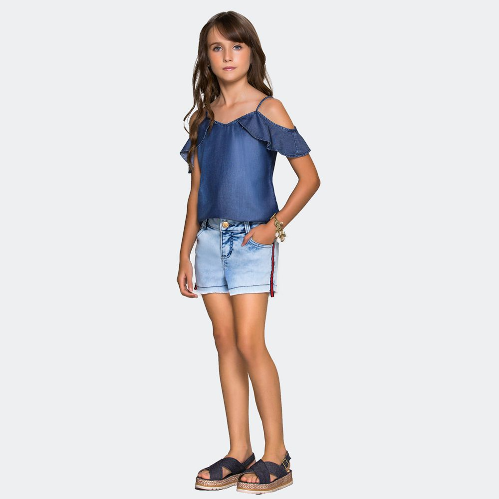 Shorts Jeans Fita Lateral