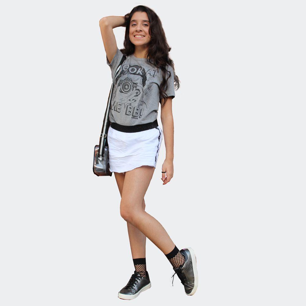 Shorts Saia Sarja com Elástano na Cintura