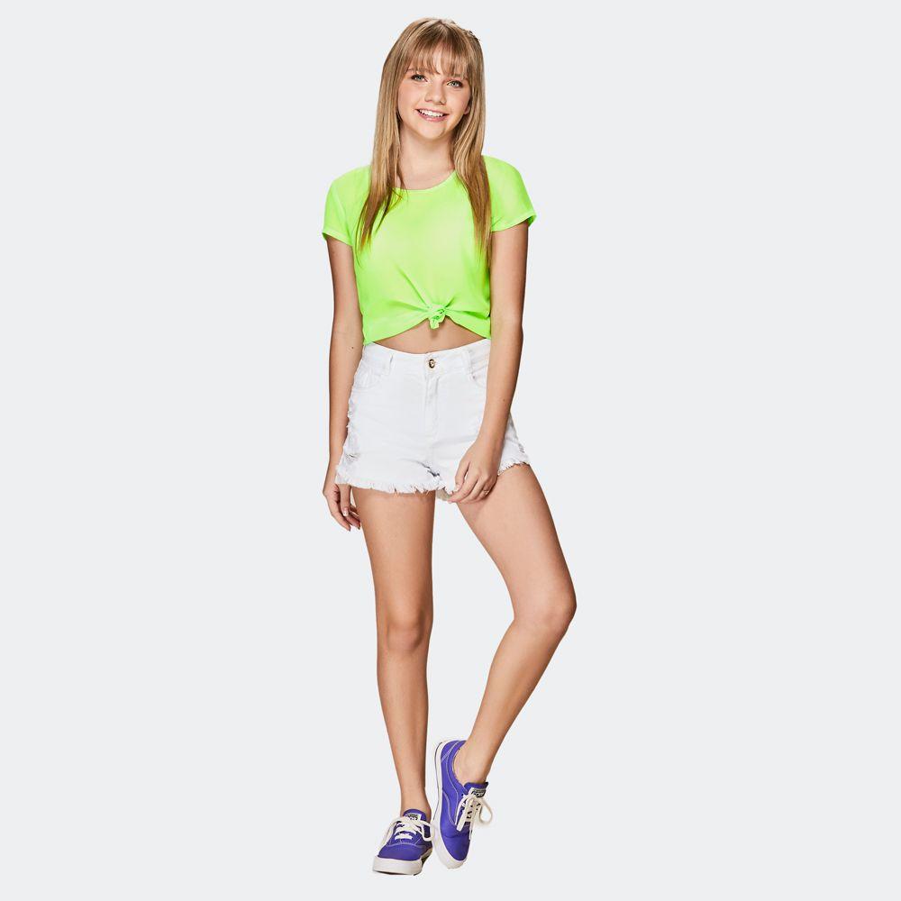 Shorts sarja branco rasgado