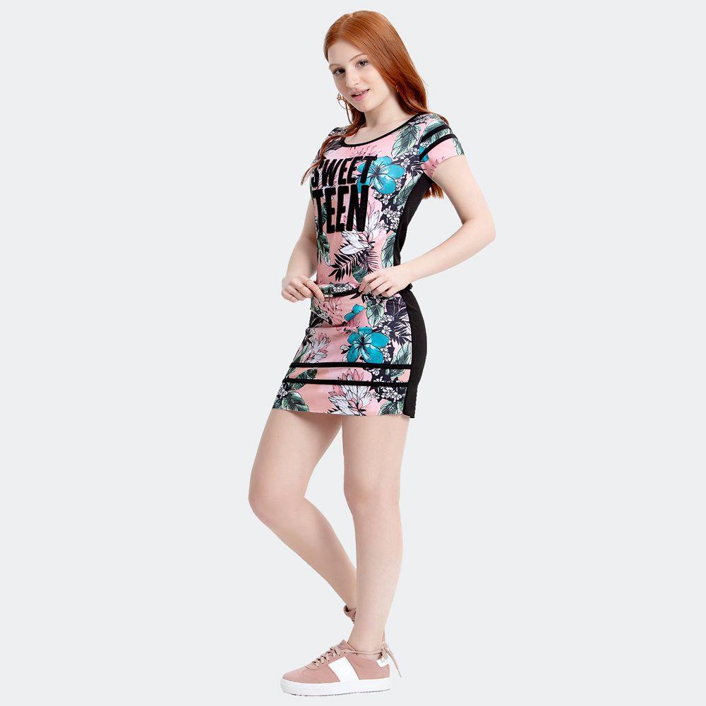 T-Shirt Dress Crepe Floral