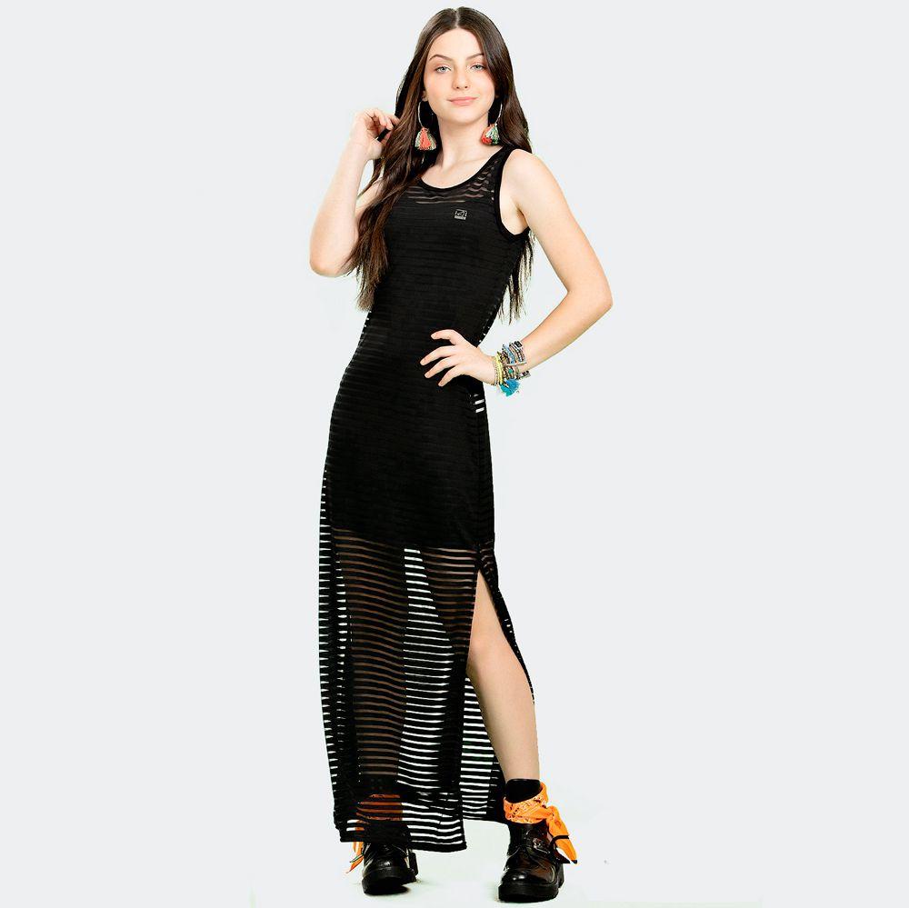 Vestido Longo Malha Transparente Listrado