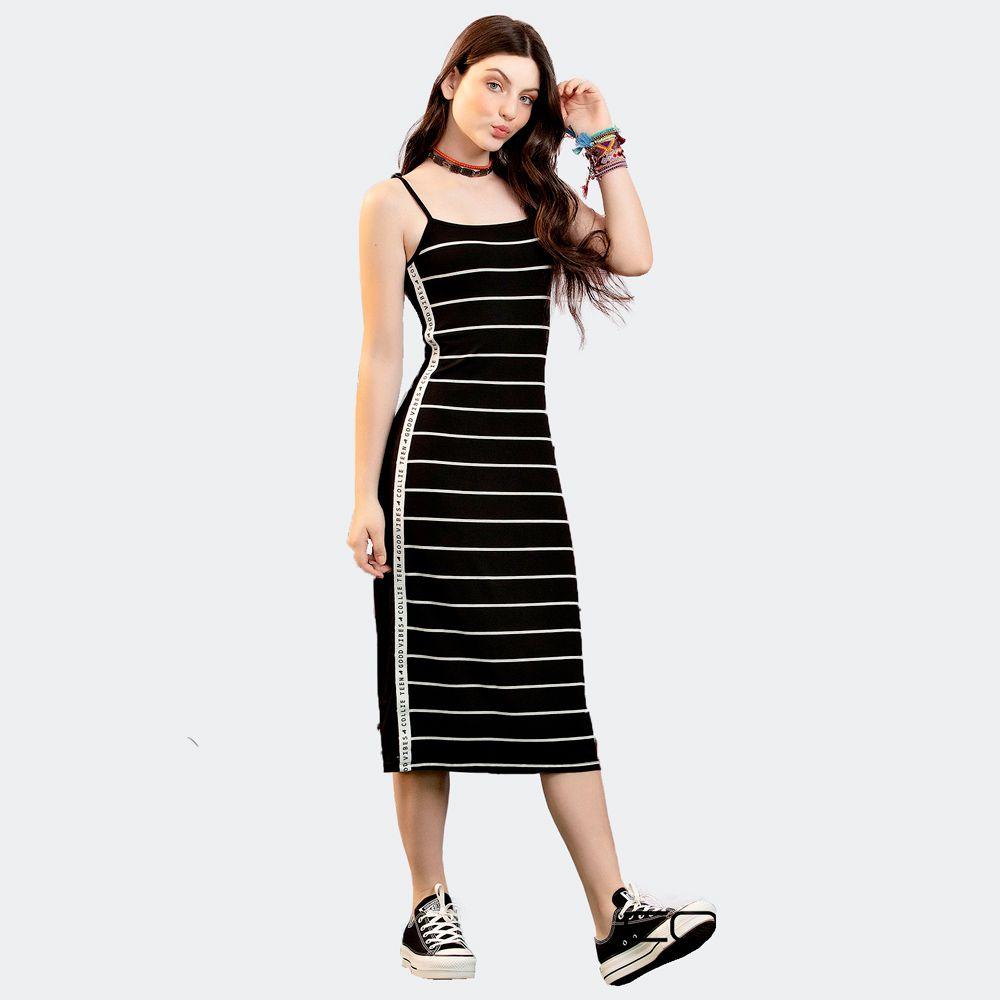 Vestido malha listrada - Collie Teen