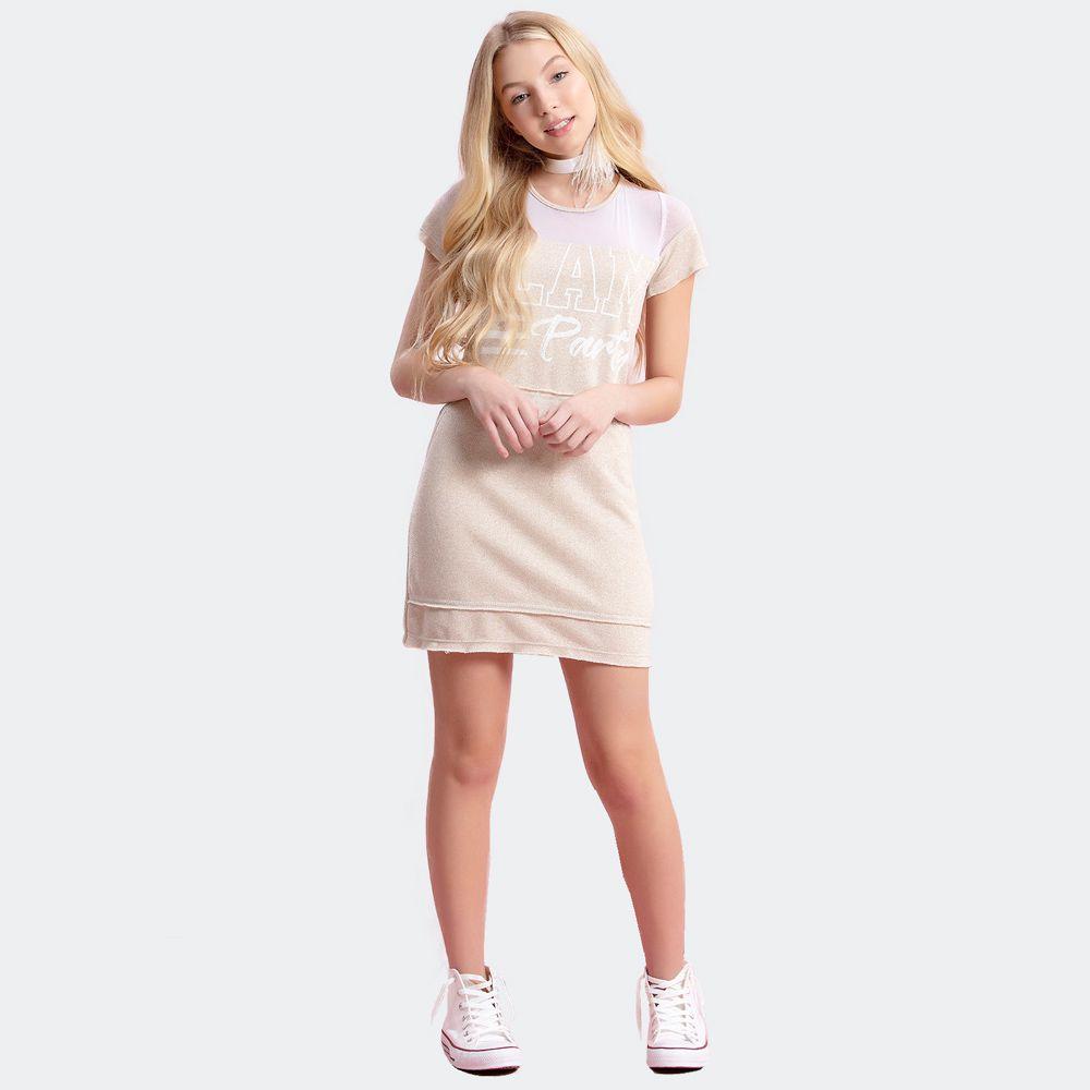 Vestido Moletinho Mescla Com Brilho  - Collie Teen