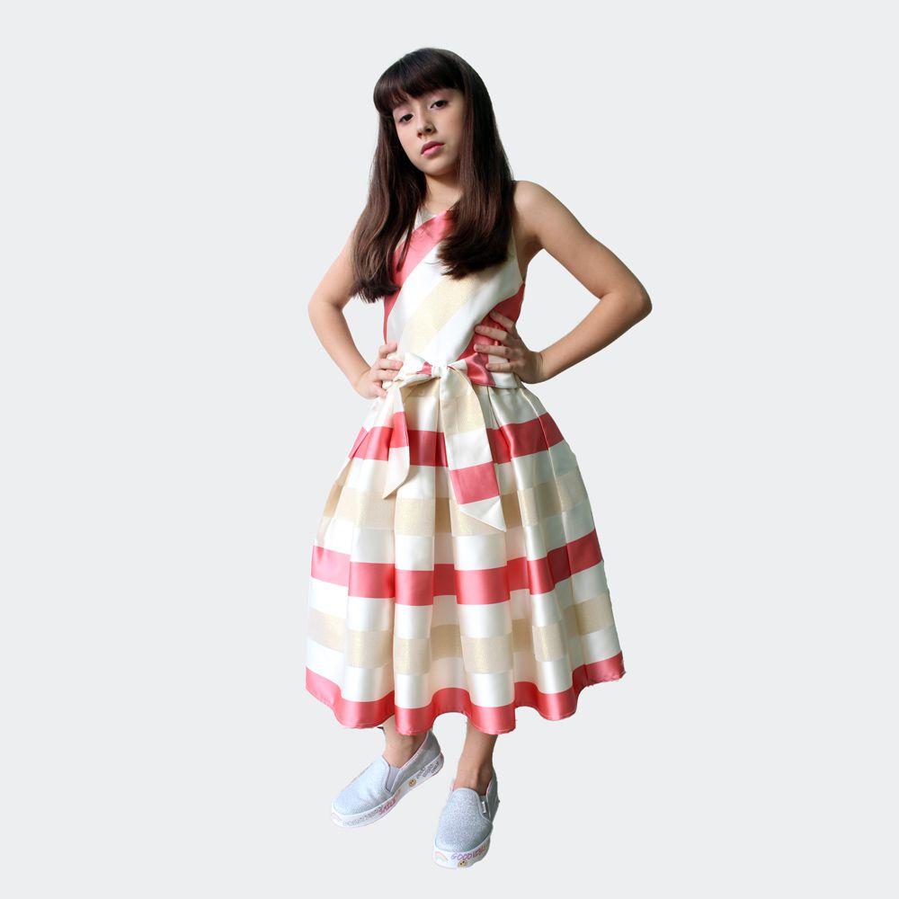 Vestido Prega Listra Petit Cherie