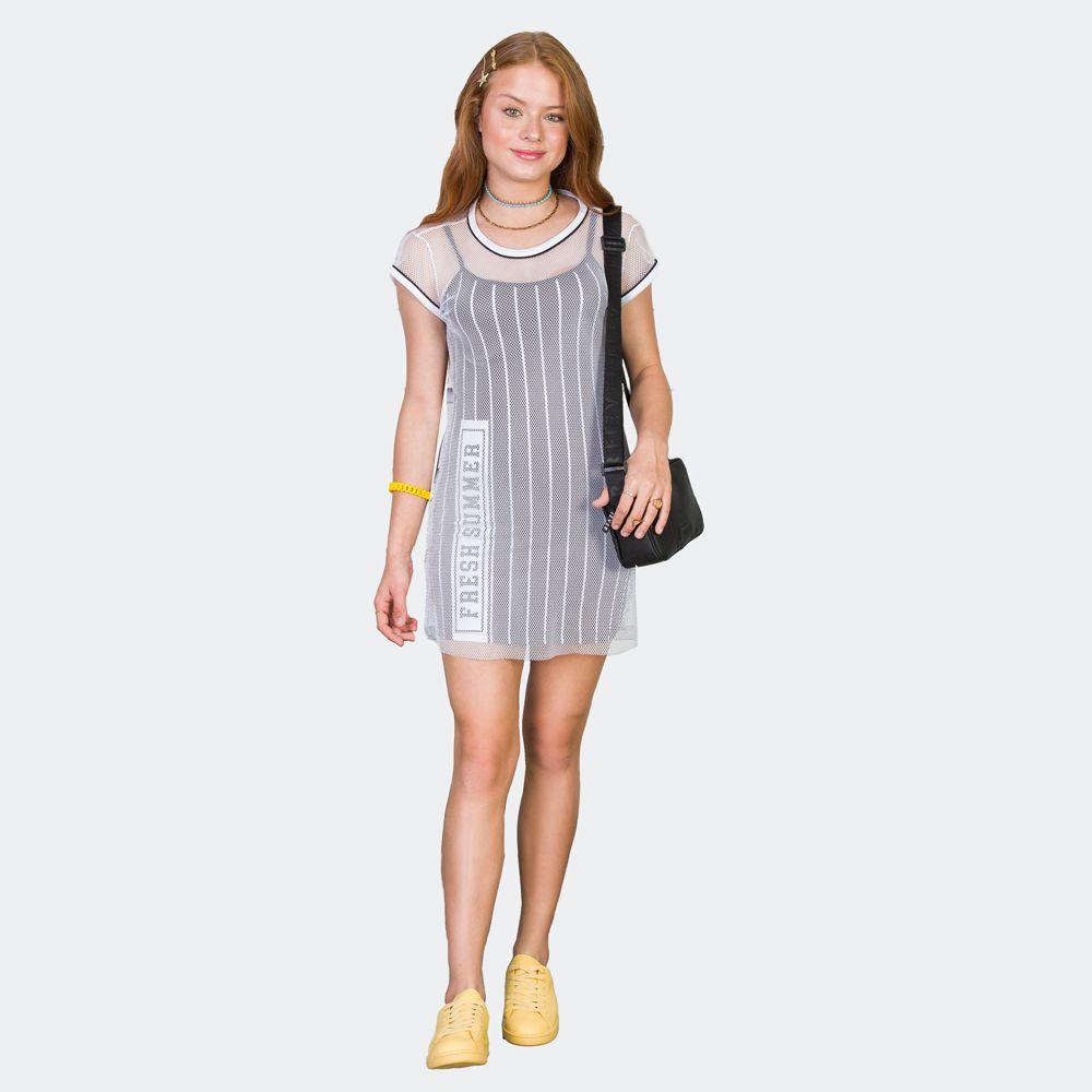 Vestido Sobreposição Com Telinha