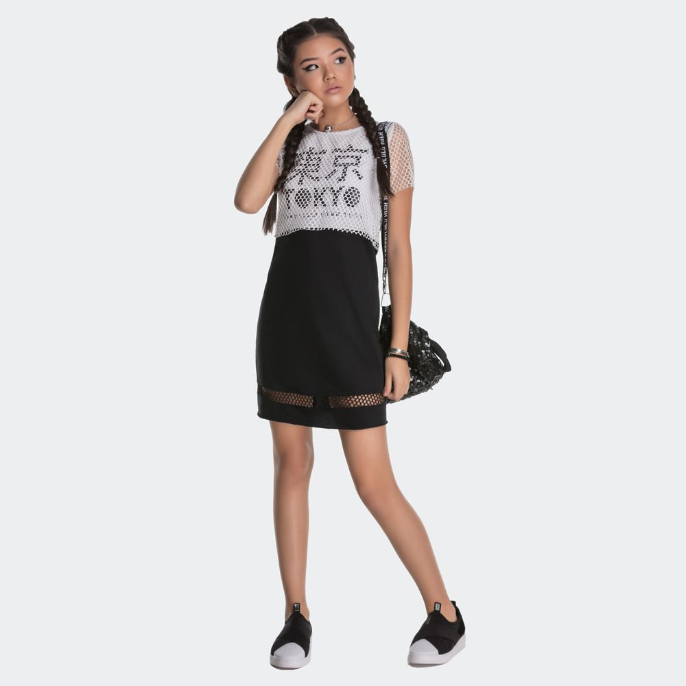 Vestido Teen Malha Com Sobreposição Telinha