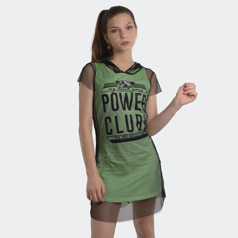 Vestido Teen Sobreposição Malha Com Tela