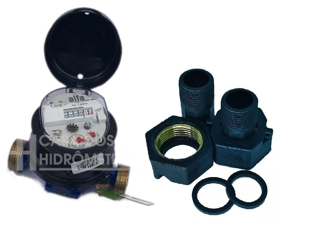 Hidrômetro Unijato 1.5 X 1/2 X 115 + conexão pvc ins curto