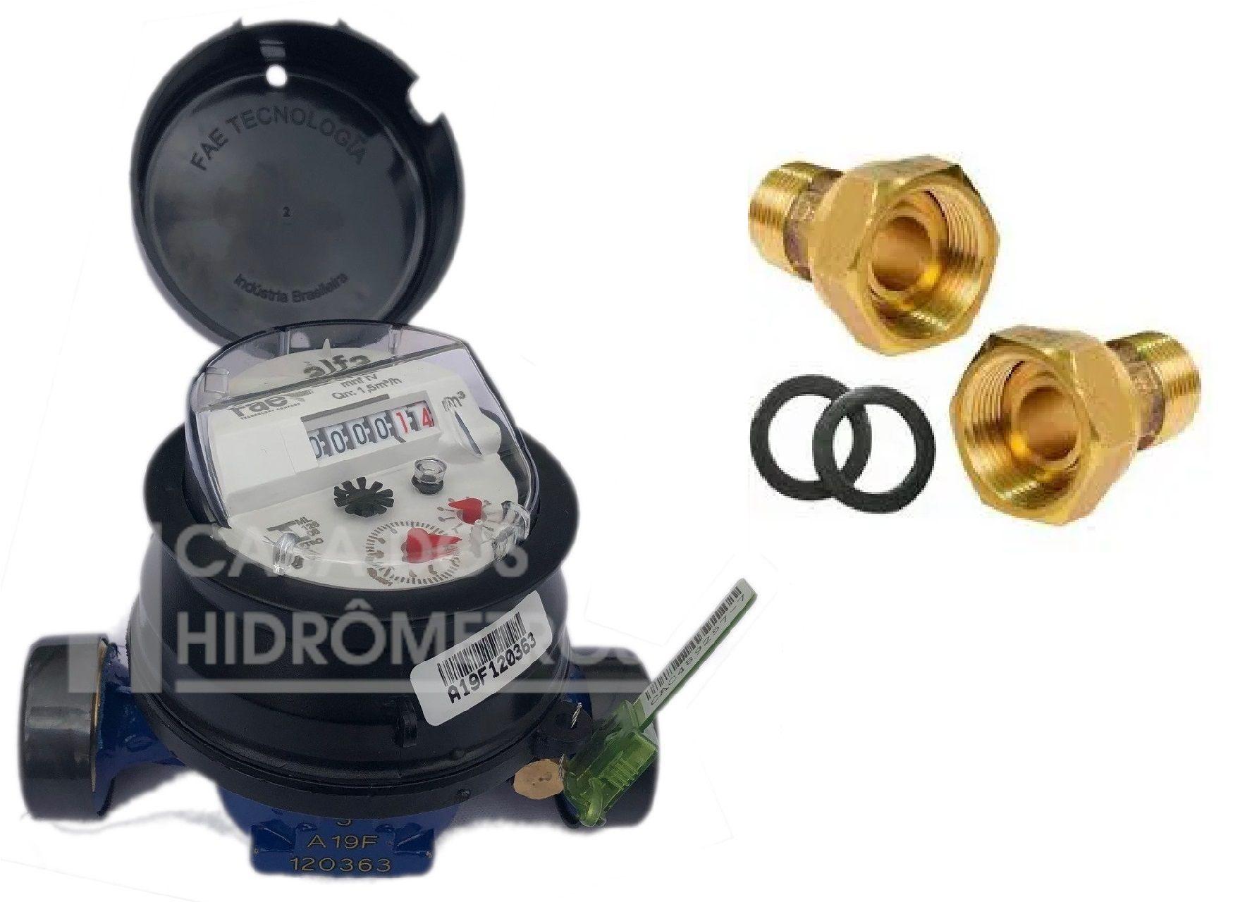 Hidrômetro Unijato 1.5 X 1/2 X 115 + KIT LATÃO