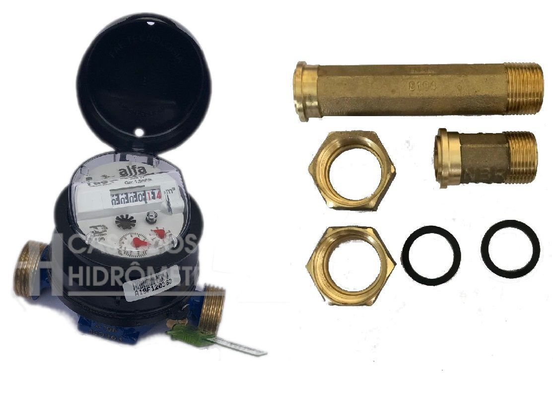 Hidrômetro Unijato 1.5 X 3/4 X 115 + KIT LATÃO LONGO, Padrão DMAE