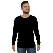 Camiseta Básica Masculina Manga Longa Gola Redonda Poliéster
