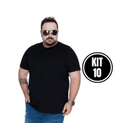 KIT 10 CAMISETA BASICA GOLA REDONDA EXTRA - PRETO