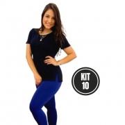 KIT 10 T shirt Longline Feminina Viscolycra