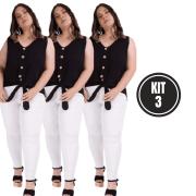 Kit 3 Calça Jeans EXTRA Lycra Branca Skini Cós Médio