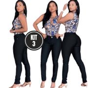 Kit 3 Calça Jeans Lycra Preta Skini Cós Médio