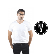 Kit 3 Camiseta Masculina Gola V Branco