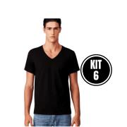 Kit 6 Camiseta Masculina Gola V Preto