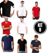 Kit 8 Camiseta Masculina Gola V - Cores