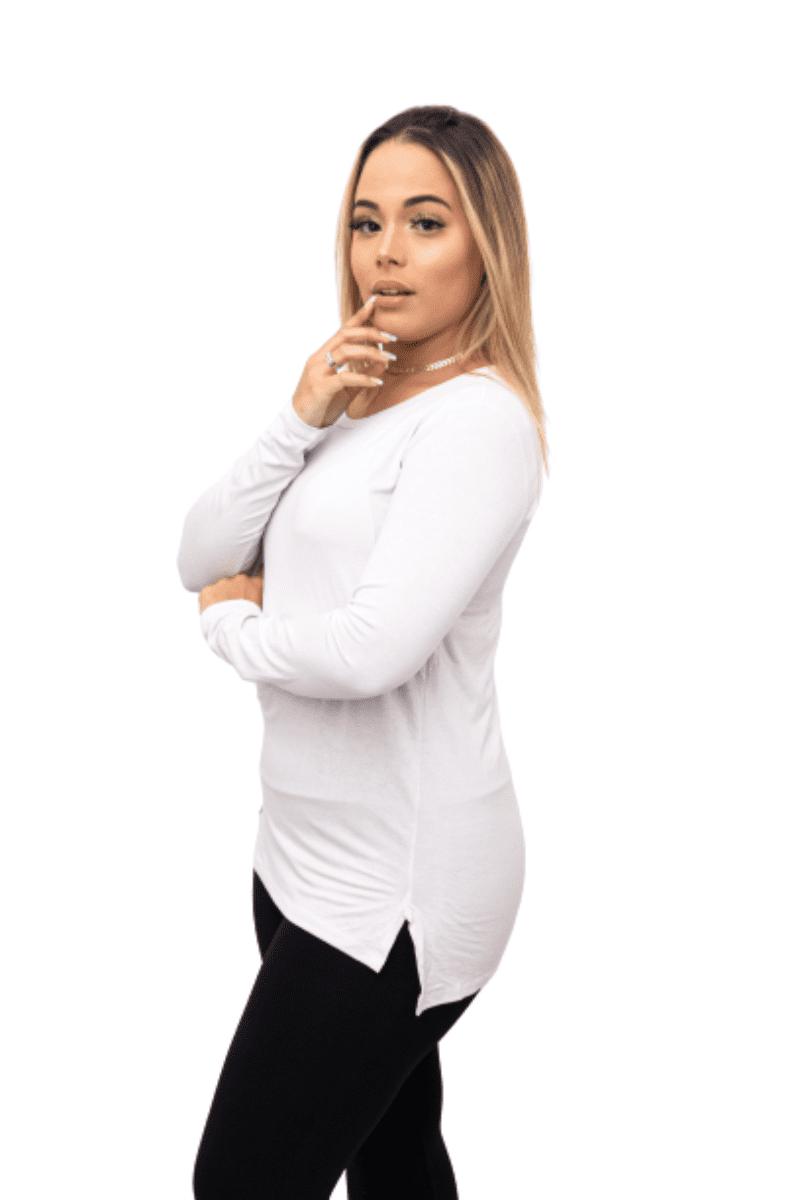 Blusa tshirt longline manga longa mullet tapa bumbum comprida