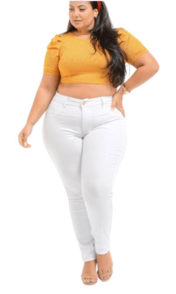 Calça Jeans Lycra Branca Skinny Cós Médio Plus Size