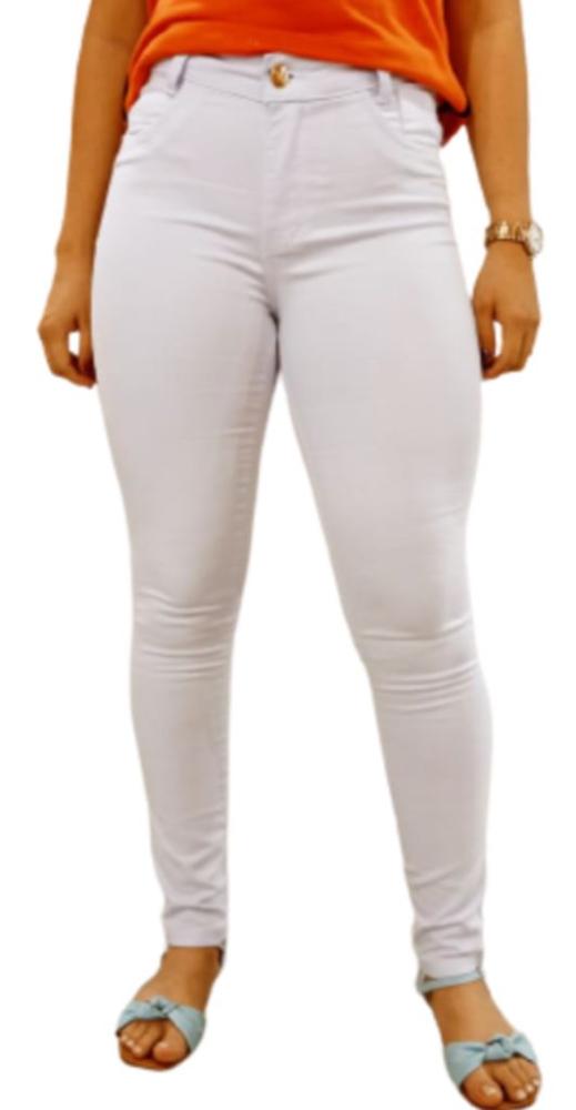Calça Jeans Lycra Branca Skiny Cós Médio