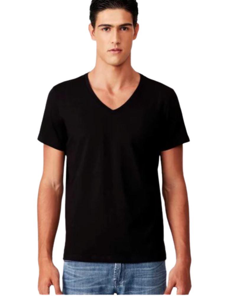 Camiseta básica masculina Algodão gola V manga curta