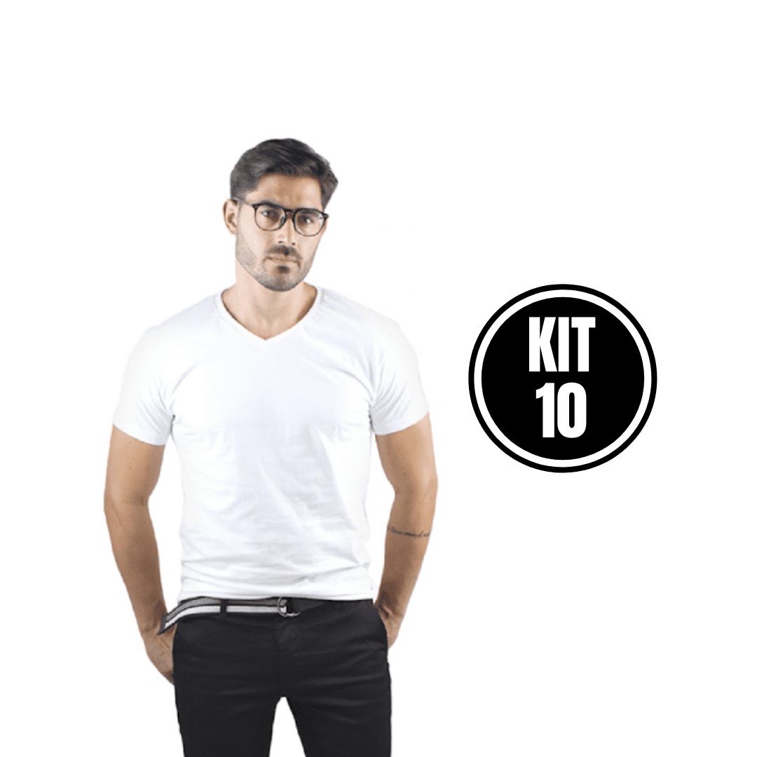 Kit 10 Camiseta Masculina Gola V Branco