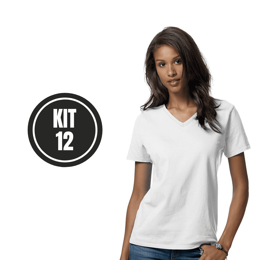 Kit 12 Baby Look Gola V Branco