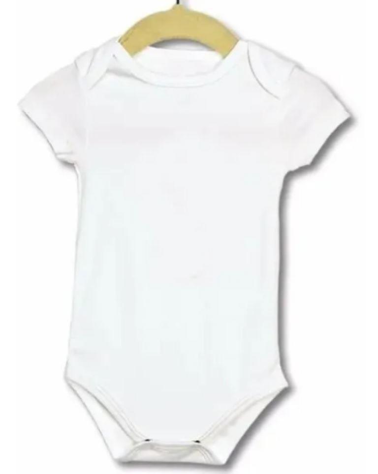 KIT 12 Body Manga Curta Infantil de Bebê - Poliéster