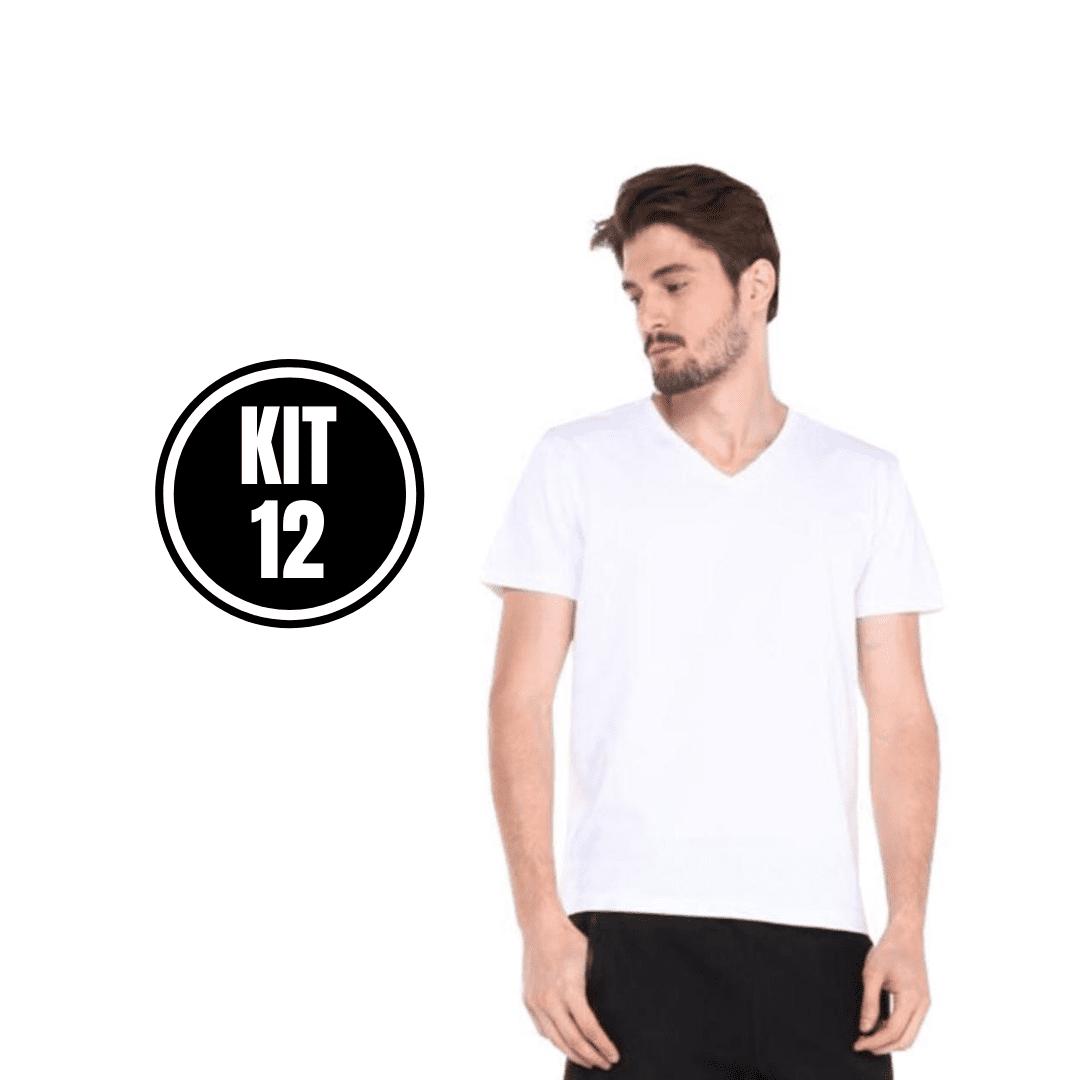 Kit 12 Camiseta Masculina Gola V Branco