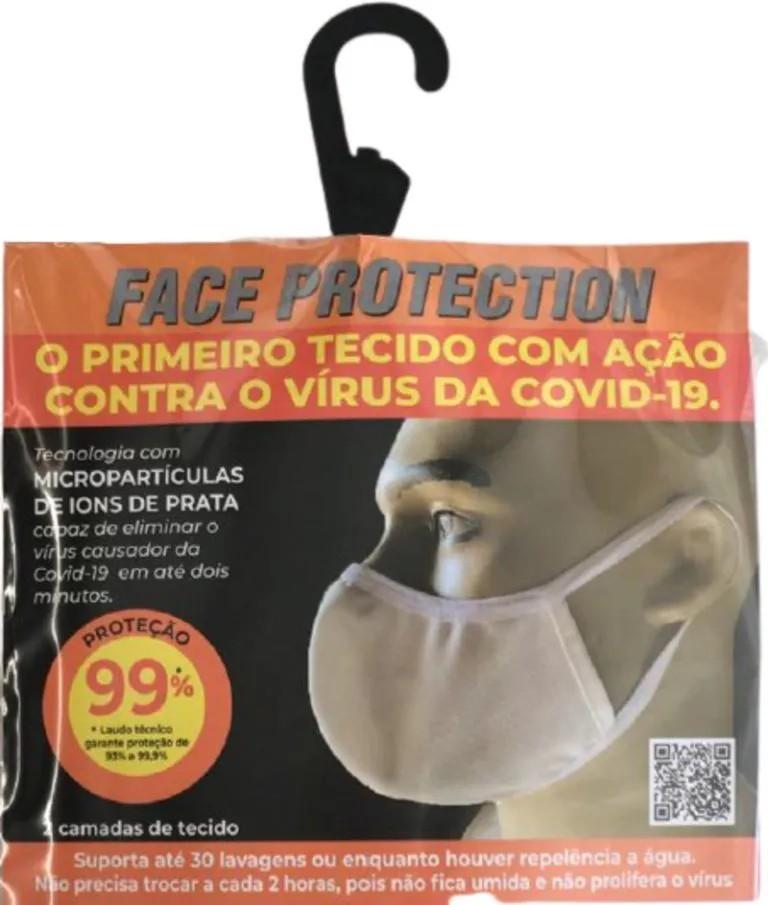 Kit 2 Máscara Ninja Branca Anti Covid-19 Ions de Prata