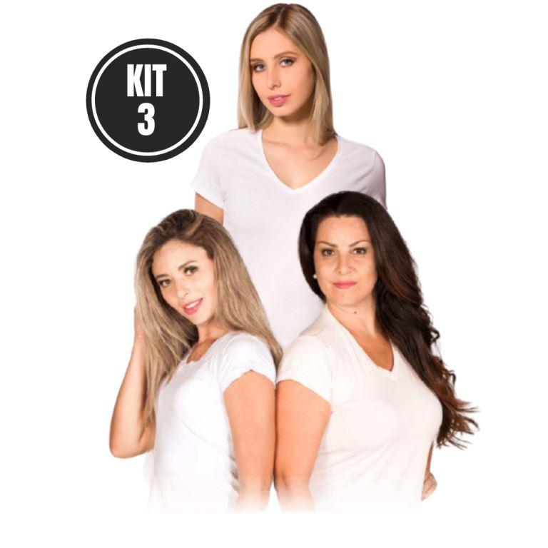 Kit 3 Baby Look Gola V Algodão Branco