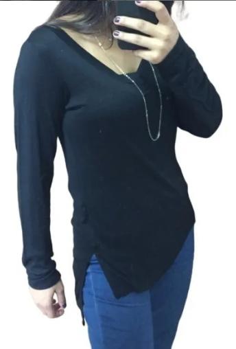 Kit 3 Blusa tshirt longline manga longa mullet tapa bumbum comprida